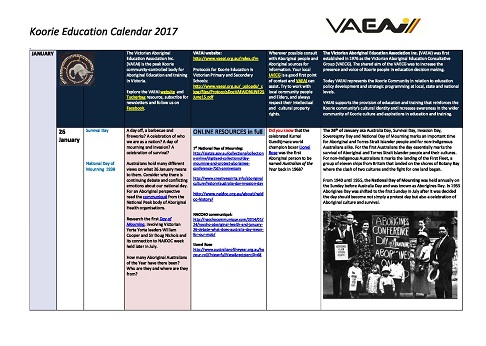 VAEAI Koorie Education Calendar 2017 FINAL